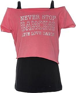 Brody & Co.Camiseta de baile para niña con dos capas y la inscripción «Never Stop Dancing Live Love Dance»