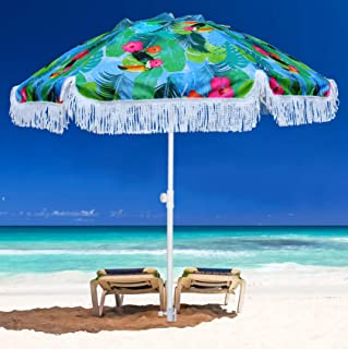 AMMSUN 2m Beach Umbrella with Sand Anchor Tilt Mechanism and Carrying Case,UPF 50+,Color Blue and Green,Perfect for Outdoo...