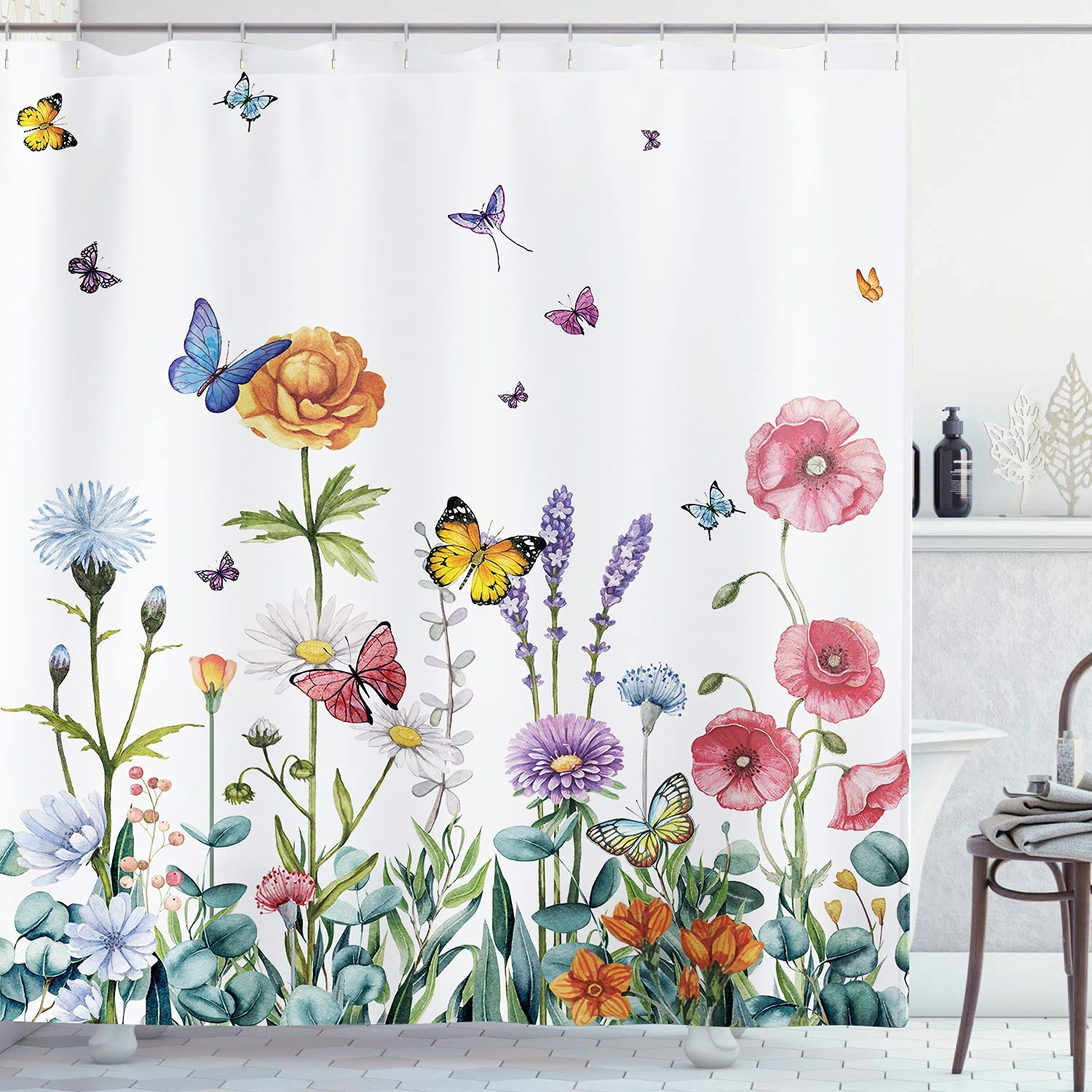 AMBZEK Floral Shower Curtain Butterfly Flower 60Wx72L Inch Colorful Wildflowers Bathroom Accessories for Women Rustic Garden Blossom Watercolor Leaves Fabric Bathroom Decor 12 Pack Plastic Hooks