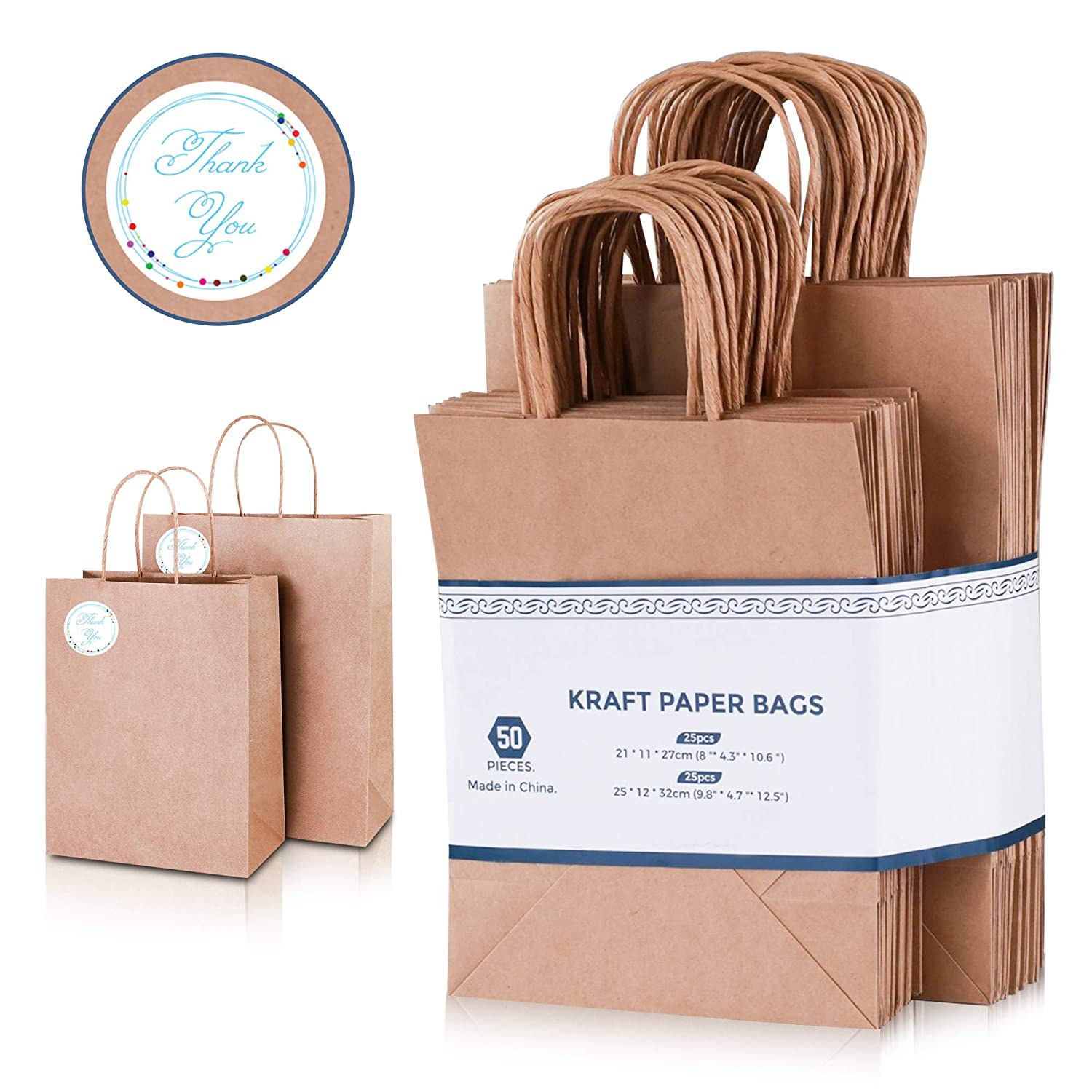 Brown San Diego Mall Paper Cheap sale Bags with Handles Bulk 50 - Pack Psc Tha Includes