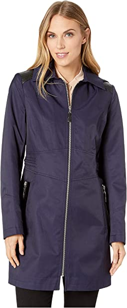 Hooded Fitted Raincoat with Faux Leather Waist Detail