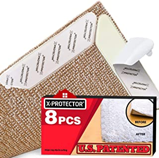 Rug Grippers X-PROTECTOR - New 8 pcs Anti Curling Rug Gripper - Rug Pad - Keeps Your Rug in Place & Corners Flat - Carpet ...