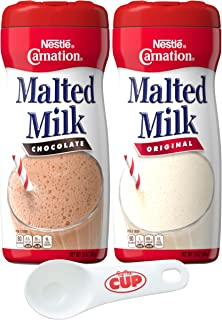 Nestle Carnation Powdered Malted Milk Variety, Original & Chocolate, 1 of Each with By The Cup By The Cup Powder Scoop
