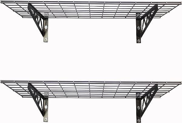 SafeRacks Garage Wall Shelf Two Pack 18 X36 Includes Bike Hooks 500lb Capacity 18 X36 Hammertone