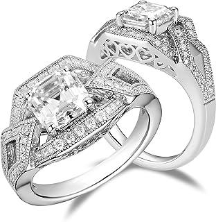 DovEggs Sterling Silver Center 2ct 7x7mm G-H-I Color Asscher Cut Moissanite Vintage/Antique Art Deco Engagement Ring Solit...