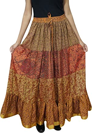 Womens Long Skirt Green Silk Sari Flare Belly Dance Tiered Skirts L