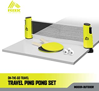 RBX On-The-Go Ping Pong Travel Set with Telescopic Table Tennis Net, 2 Paddles, 3 Balls