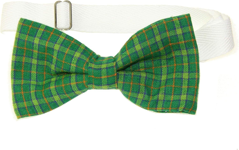 Men's Green Plaid Pre-Tied Adjustable Cotton Bow Tie