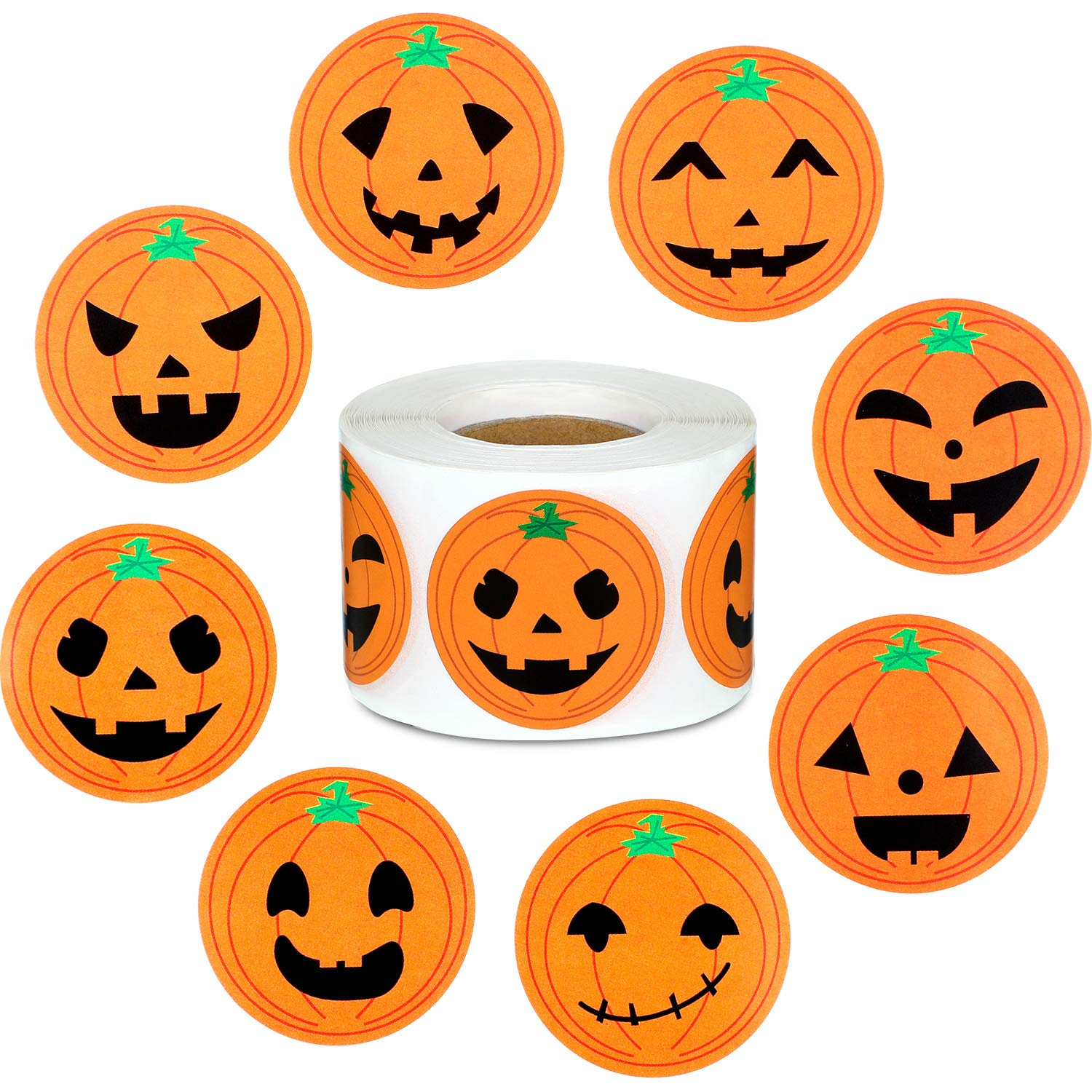 Outus 27 Pieces Halloween Pumpkin Stickers Pumpkin Craft Stickers Face Stickers for Halloween Party Decoration Props