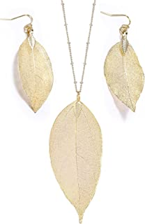 BOUTIQUELOVIN Filigree Long Leaf Pendant Dangle Necklace and Earring Jewelry Set Fashion Gifts for Women Girls-4 Colors Available