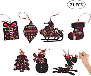 PPXMEEUDC 21 PCS Christmas Scratch Ornaments Magic Rainbow Color Craft Kit Toy with Snowman Reindeer Gift Box Socks Christmas Tree for Kids Xmas Crafts Art Decorations