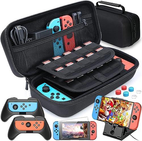 Étui pour Nintendo Switch, HEYSTOP 11 en 1 Étui de transport pour Nintendo Switch, 2x Grip pour Joy-con Nintendo Swit...