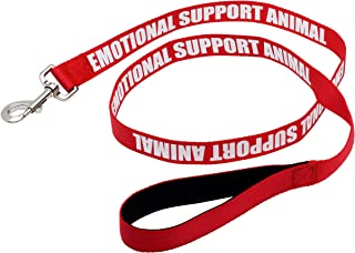 Just 4 Paws Padded Emotional Support Dog Leash with Neoprene Handle & Reflective Print on Both Sides, 4 Foot Long, 2 Widths, for Harnesses, Vests or Collars, Red
