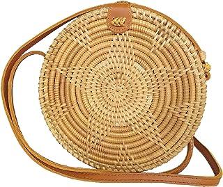 Special Design Straw Bag Purse with Real Leather   Boho Bali Ata Rattan Crossbody Handbags for Women
