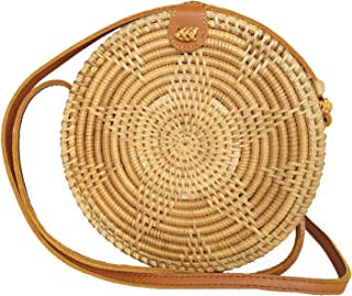 Special Design Straw Bag Purse with Real Leather | Boho Bali Ata Rattan Crossbody Handbags for Women