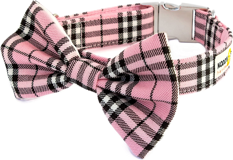 Noddy & Sweets Handmade Dog Collar with Bow Tie [Pink Tartan Checks]  Small