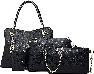 Women`s Pu Leather Tote Purse and Handbags Set Satchel Shoulder Crossbody Bag 4pcs Clutch Wallets for Ladies