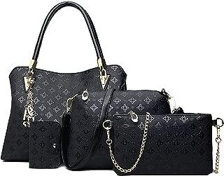 Women's Pu Leather Tote Purse and Handbags Set Satchel Shoulder Crossbody Bag 4pcs Clutch Wallets for Ladies