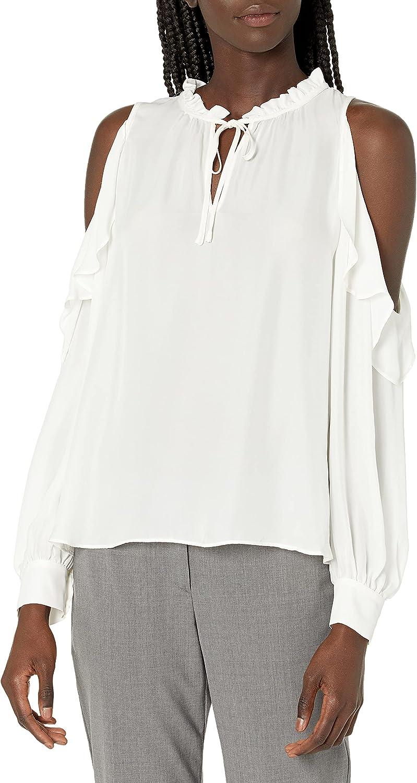 Parker Women's Marjorie Long Sleeve Shoulder Blouse Charlotte Mall Ruffle Super Special SALE held Cold