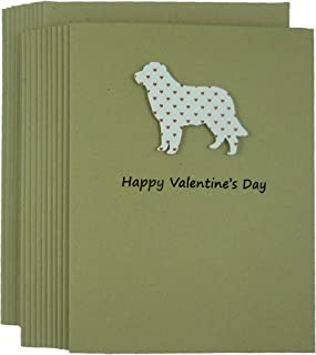 Golden Retriever Dog Valentine's Day Greeting Card 10 pack Dog Silhouette with Small Red Hearts Handmade Kraft Paper