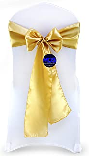 Best mds Pack of 50 Satin Chair Sashes Bow sash for Wedding and Events Supplies Party Decoration Chair Cover sash -Gold Review