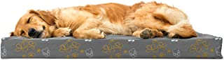 Furhaven Pet Dog Bed   Deluxe Orthopedic Mat Water-Resistant Indoor/Outdoor Garden Print Traditional Foam Mattress Pet Bed w/Removable Cover for Dogs & Cats