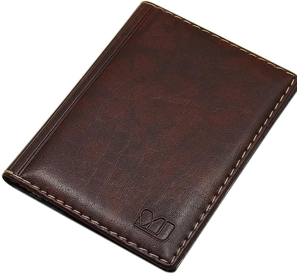 Myledershop, porta carte di credito, in pelle sintetica, marrone