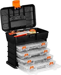 VonHaus Very Small Utility Tool Storage Box - Portable Arts Crafts Organizer Case with 4 Drawers & Adjustable Dividers (10.9 x 10.1 x 6.9 inches - Black/Orange)