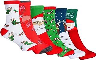 Calcetines de Navidad, 6 Pares Calcetines Navidad Mujer Santa Claus Muñeco de Nieve Calcetines de Felpa Cálidos Calcetines Navidad Regalo Calcetines para Adultos Cómodo Calcetines