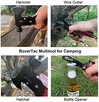 RoverTac Multitool Camping Tool Survival Gear Handy Gifts for Men Women UPGRADED 14 in 1 Stainless Steel Sturdy Multi...