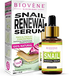 Biovène Snail Renewal Serum, 1-oz Deeply Moisturizes to Regain Skin Elasticity. Boosts the Generation of New Cells, Helps Control Aging