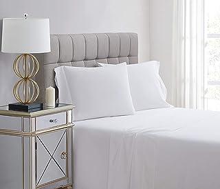 Charisma Percale Cotton 400 Thread Count Sheet Set, King, White