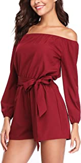 Rompers and Jumpsuits for Women Long Sleeve Strapless Off The Shoulder Boat Neck Summer Sexy Dressy Rompers