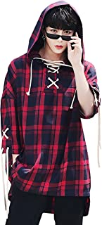 Men's Plaids Lace Up Hooded T-Shirt