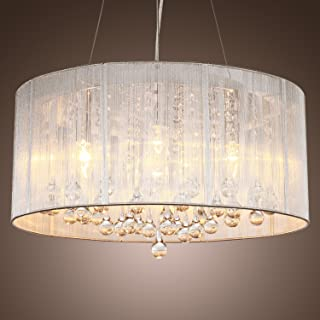 LightInTheBox Modern Silver Crystal Pendant Light in Cylinder Shade, Drum Style Home Ceiling Light Fixture Flush Mount, Pendant Light Chandeliers Lighting for Bedroom, Living Room