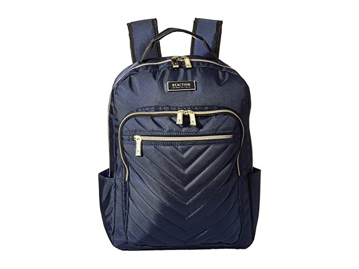 Kenneth Cole Reaction  Polyester Twill Chevron Backpack (Navy) Backpack Bags