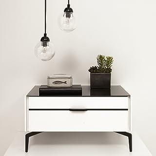 Amazon.com: Black - Glass / Nightstands / Bedroom Furniture ...