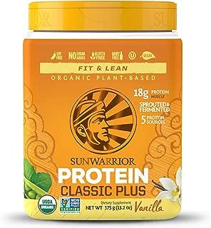 Sunwarrior - Classic Plus, Vegan Protein Powder with Peas & Brown Rice, Raw Organic Plant Based Protein, Vanilla, 15 Servings