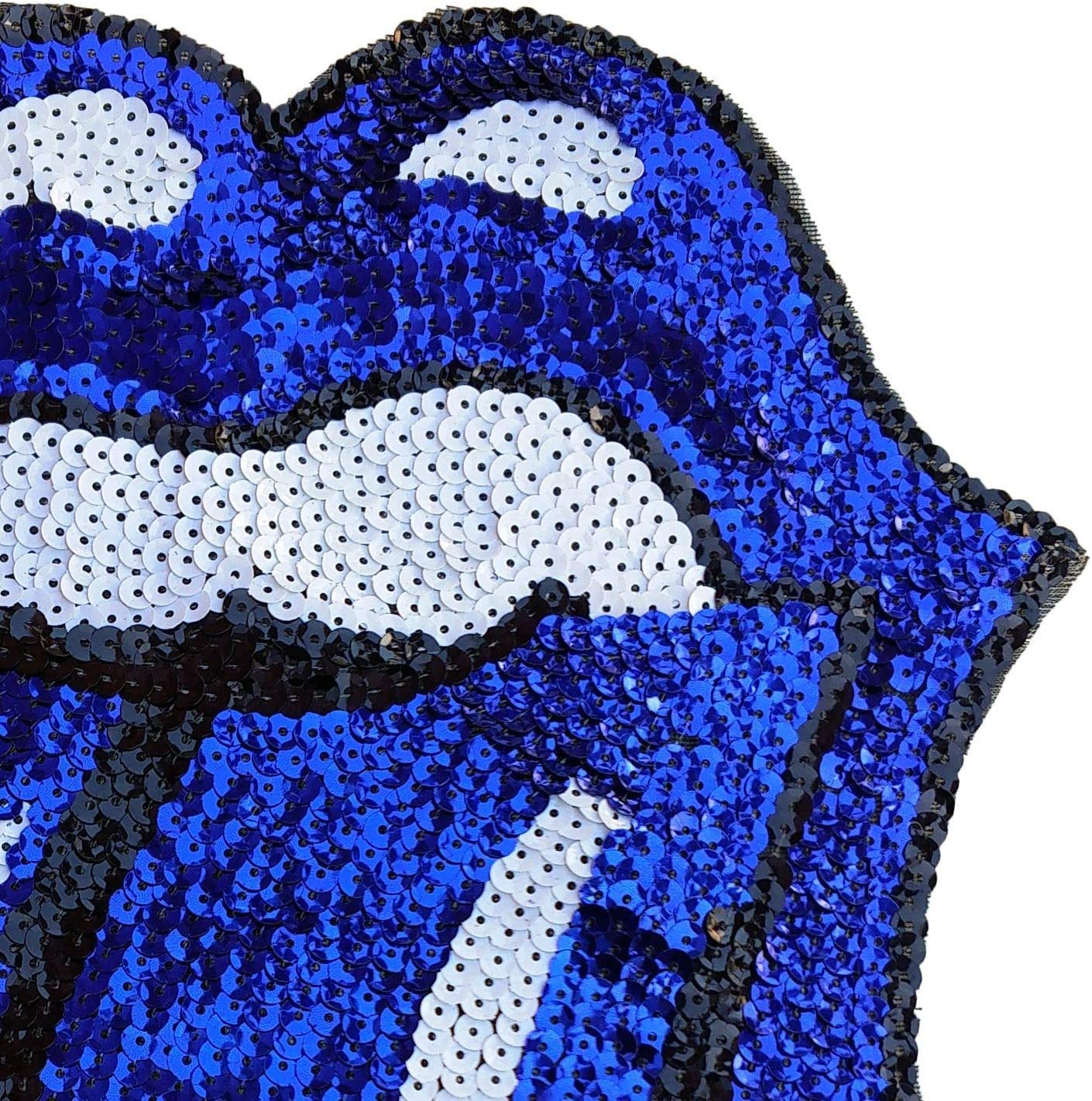 Sequin Lips Patches Sew On or Iron On Large Cartoon Mouth Tongue Lip Sequin Patches DIY Appliques Craft Compatible Hoodies T-Shirt Jeans Jackets