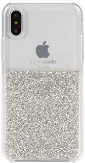 kate spade new york Silver Crystals Half Clear Case for iPhone X/XS - Protective Phone Case with Crystal Gems