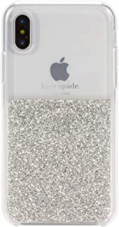 Kate Spade New York Phone Case | for Apple iPhone X and 2018 iPhone Xs | Protective Clear Crystal Phone Cases with Slim Design and Drop Protection - Silver
