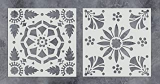 GSS Designs Pack of 2 Stencils Set 12x12 Inch Reusable Template for Painting on Wood, Walls, Fabric, Airbrush, Furniture, Floor, Tiles and More (SL-011)
