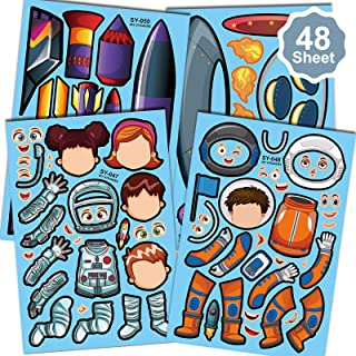 Konsait 48Sheets Outer Space Make Your own Stickers, Make A Face Stickers Solar System Universe Outer Space Theme Party Fa...