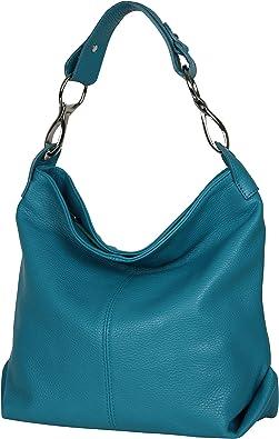 AmbraModa GL033 - Borsa a spalla da donna in vera pelle italiana, borsa a tracolla, borsa a mano da donna