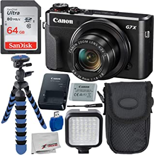 "Canon PowerShot G7 X Mark II Digital Camera Deluxe Bundle Includes – 12"" Gripster, Point N Shoot Case, Sandisk 64GB Ultra ..."