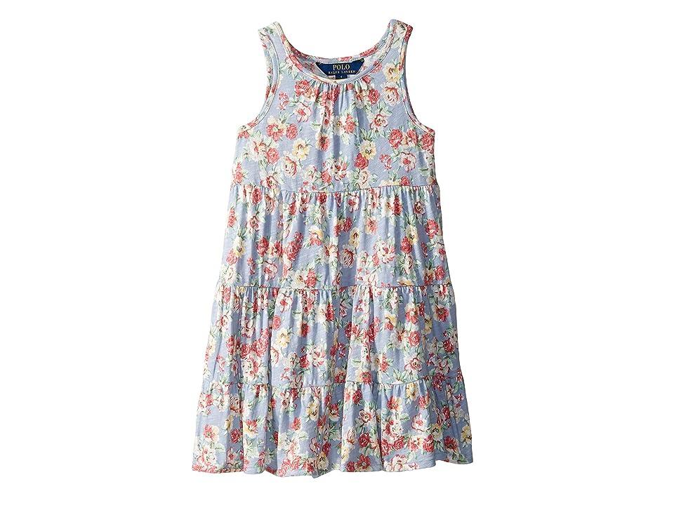 5c933e6e3 Polo Ralph Lauren Kids Floral Cotton Jersey Dress (Little Kids) (Blue/Red  Multi) Girl's Dress