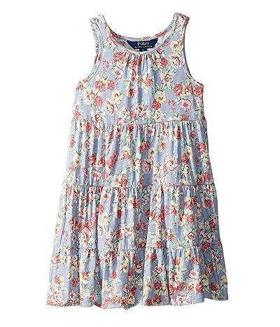 Polo Ralph Lauren Kids Floral Cotton Jersey Dress (Little Kids) (Blue/Red Multi) Girl