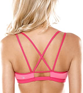 CRZ YOGA Women's Padded Cool-Look Criss Cross Strappy Yoga Sports Bra
