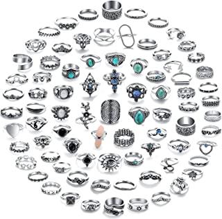 82 Pcs Vintage Silver Knuckle Rings Set for Women,...