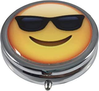 Smiling Face with Sunglasses Emoji Silver Three Compartment Pocket/Purse/Travel Pill Box Case